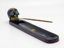 Sugar Skull Black Day of the Dead Incense Burner