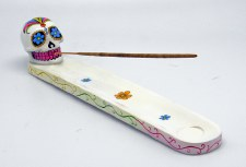 Sugar Skull White Day of the Dead Incense Burner