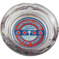 "4"" Glass Northern Lights 1990 Cup Winner Ashtray"