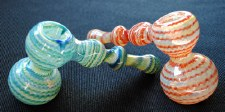 Fumed and Raked Hand Blown Glass Hammer Bubbler
