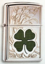 4 Leaf Green Clover with Scene Zippo Lighter