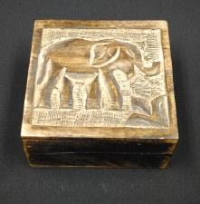 """5x5"""" Mango Wood Elephant Box"""
