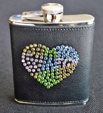 6oz Stainless Steel Flask with Crystal Heart