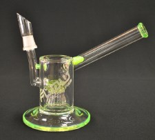 "6"" Tall Flow Sci Glass Slyme Green Side Car Oil Rig"