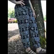 Cotton Om Print Trouser Black