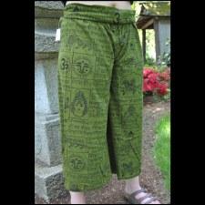 Cotton Knit Print Pant Green