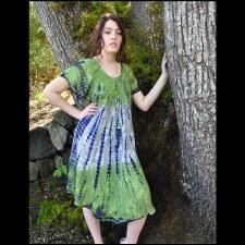 Short Sleeve Tie Dye Dress Gre