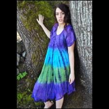 Short Sleeve Tie Dye Dress Pur
