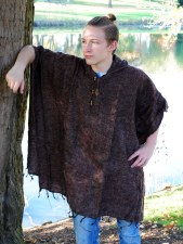 Hooded Wool Poncho Brown
