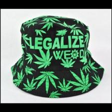 Hemp Leaf Bucket Hat Black