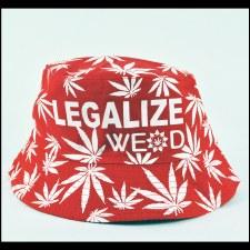Hemp Leaf Bucket Hat Red
