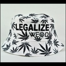 Hemp Leaf Bucket Hat White
