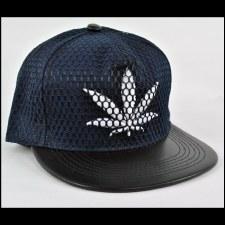 Mesh Hemp Leaf Hat Blue
