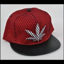 Mesh Hemp Leaf Hat Red