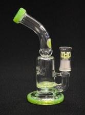 "7"" Tall Slime Green Lattice Perc Oil Rig Bubbler"