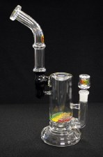 "12"" Tall Hand Blown Glass Rasta Griddle Perc Bubbler"