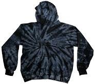 Tie Dye Large Black Pullover Hoodie