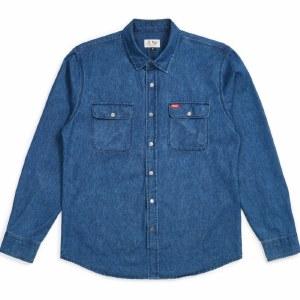 Brixton Bowery Denim Long Sleeve Flannel-Faded Indigo-M