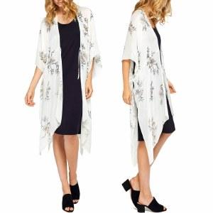 Gentle Fawn Lumiere Kimono Womens-White Alyssum Sketch-OS