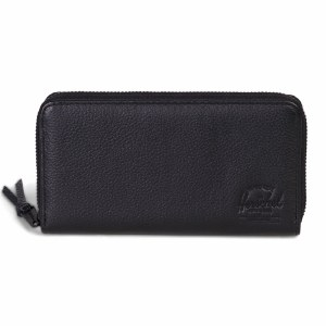Herschel Thomas Leather Clutch Style Wallet w/RFID Blocking Layer-Black Pebbled Leather-OS