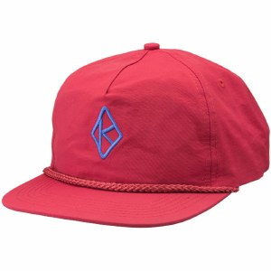 Krooked Diamond K Emb Snapback Hat-Red-OS