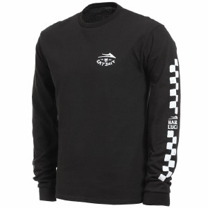 Lakai Hard Luck Eat Shit Long Sleeve T Shirt-Black-L