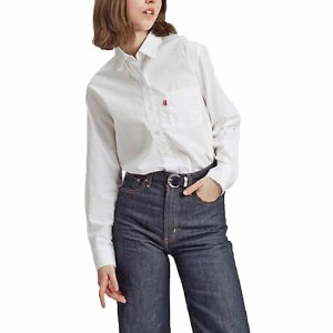 Levis Womens The Ultimate BF Shirt Long Sleeve Woven-Bright White-M