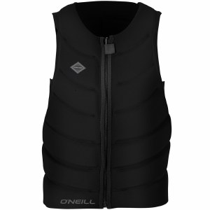 O'Neill Gooru Tech Front Zip Comp Life Vest-Black/Black/Black-M