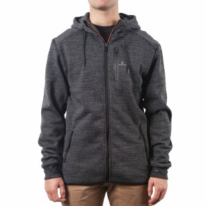 Rip Curl Departed Anti Series Hooded Zip Fleece-Charcoal-S