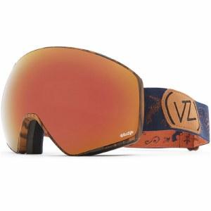 Von Zipper Jetpack Snow Goggle-Walnut Satin/Wild Black Fire Chrome/Wild Life Yellow