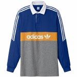 Adidas Heritage Polo Long Sleeve-Collegiate Royal/Core Heather/Tactile Yellow/White-S