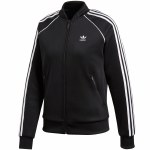 Adidas SST TT Long Sleeve Zip Top Womens-Black-L