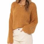 Amuse Society Womens Desert Skies Sweater-Amber Light-XS