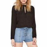 Amuse Paislee Long Sleeve Woven Shirt Womens-Black Sands-M