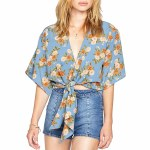 Amuse Moon Rising Short Sleeve Woven Shirt Womens-Blue-S