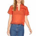 Amuse Good Intentions Short Sleeve Woven Shirt Womens-Red-S