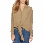 Amuse C'est La Vie Long Sleeve Woven Shirt Womens-Fatigue-S