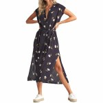 Billabong Womens Little Flirt Dress-Black Floral-XS
