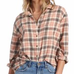 Billabong Womens Easy Movin 2 Long Sleeve Button-Up-Ash Rose-S