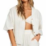 Billabong Womens All Good Short Sleeve Button-Up-Salt Crystal-S