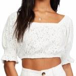 Billabong Womens Summer Girl Short Sleeve Top-Salt Crystal-S