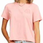 Billabong Womens Eco Rockers Tee Short Sleeve T-Shirt-Coral Sands-S