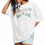 Billabong Womens Heritage Palms Short Sleeve T-Shirt-Salt Crystal-XS