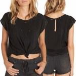 Billabong Cut It Out Woven Short Sleeve T Shirt Womens-Black-M