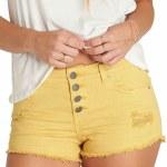 Billabong Buttoned Up 5 Pocket Cutoff Denim Short Womens-Gold Dust-26