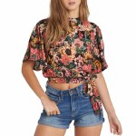 Billabong Desert Blossoms Short Sleeve Woven Shirt Womens-Multi-S