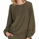 Billabong Dance For You French Terry Pullover Womens-Olive-S