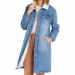 Billabong Stand Tall Sherpa Lined Denim Jacket Womens-Salty Wash-S