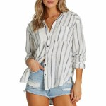 Billabong Womens Easy Movin Long Sleeve Woven-Salt Crystal-S