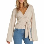 Billabong Womens Wrap Mode Long Sleeve Top-Warm Sand-XS